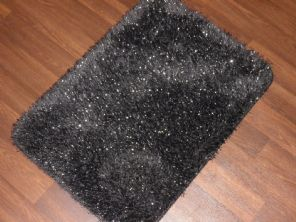 NEW ROMANY TRAVELERS WASHABLES DOORMATS 70X45CM NON SLIP SHAGGY SPARKLE BLACK